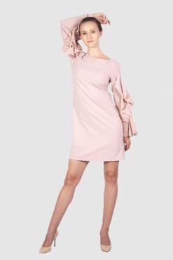 Minikleid mit Volant-Ärmeln, midi pink dress, business casual dress, büro kleid