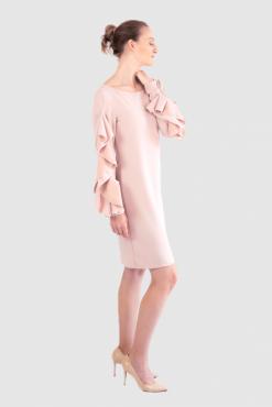 midi pink dress, business casual dress, büro kleid
