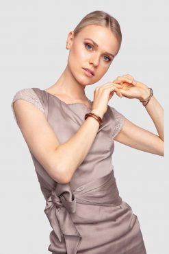 Satin Kleid mit Schleife